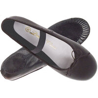 Black Leather Ballet Shoes with Split Sole