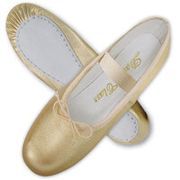 Gold Metallic Leather Ballet Shoes Full Sole Child
